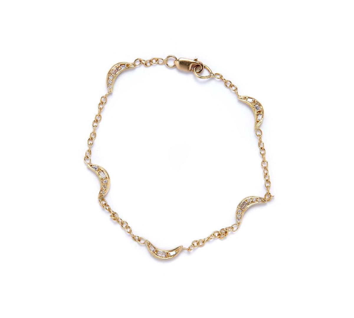 Elisa Solomon 18k yellow gold and diamond bracelet