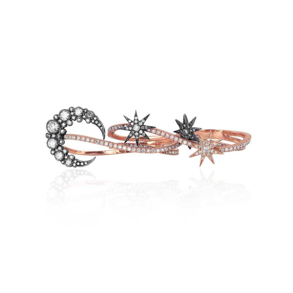 Colette 18k rose and blackened gold and diamond ring