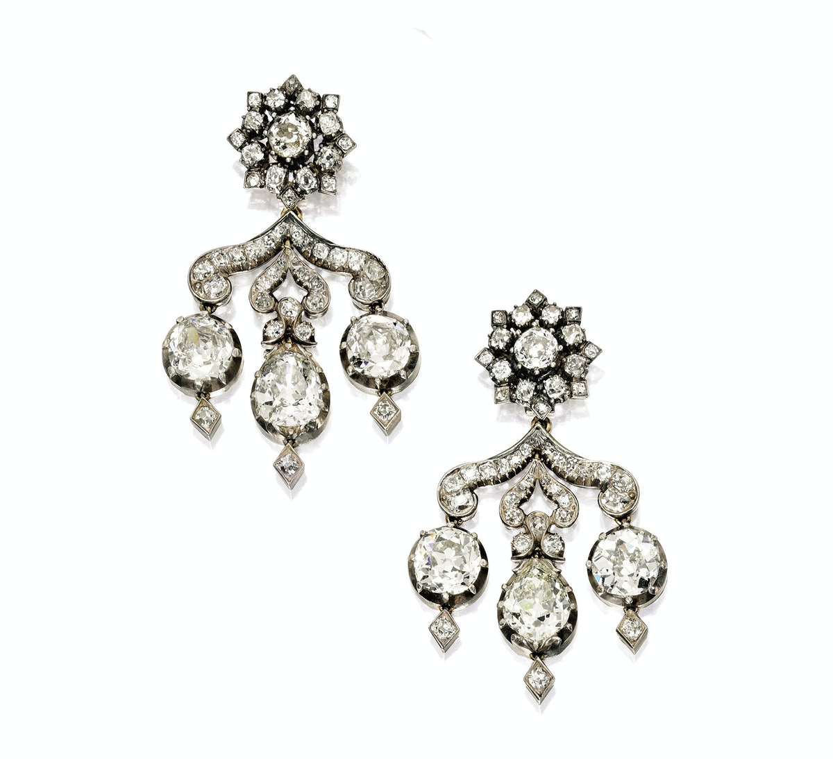 Silver, Gold and Diamond Earrings