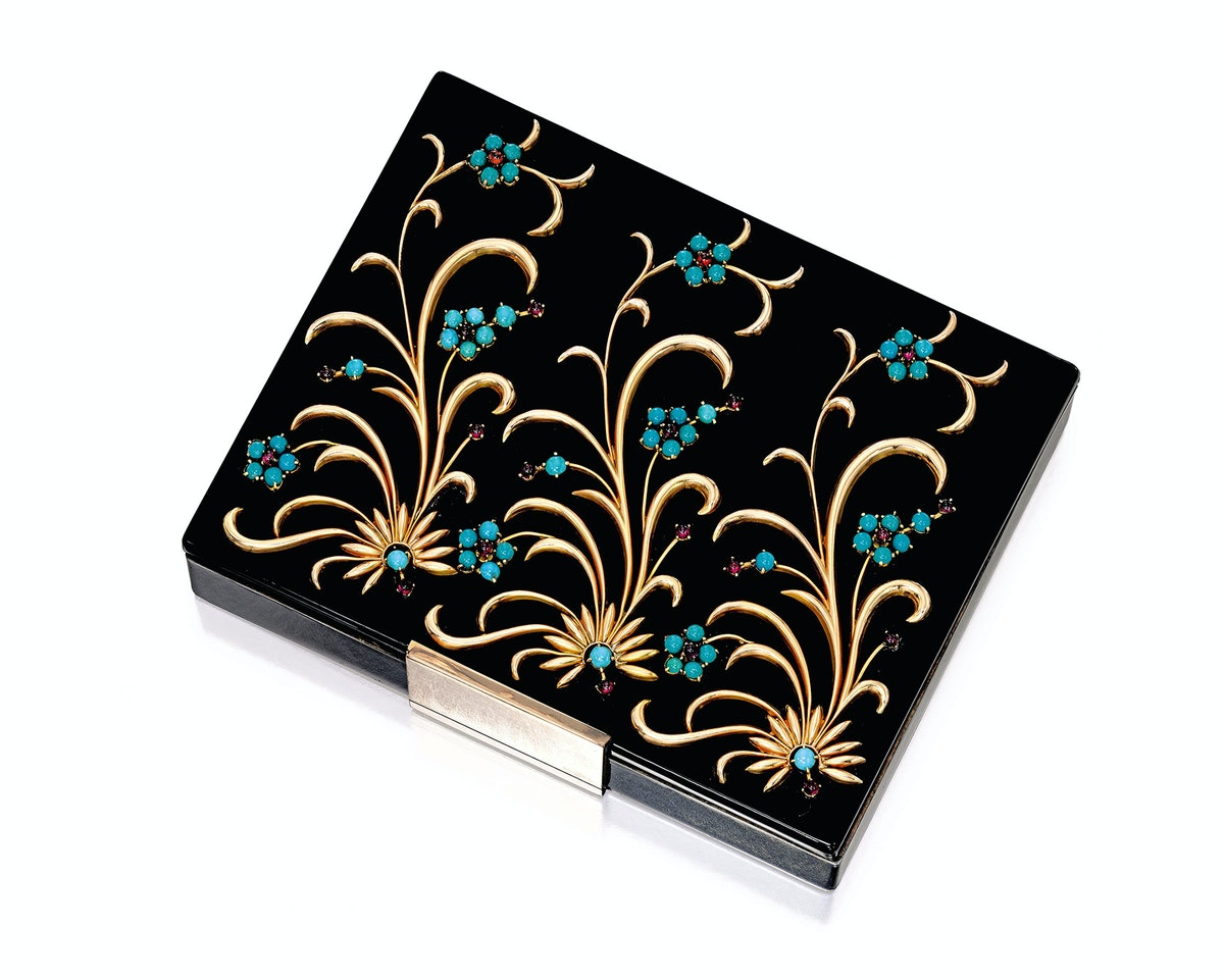 Silver, Gold, Colored Stone and Enamel Minaudiere, Van Cleef & Arpels