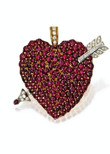 Two-Color Gold, Ruby and Diamond Brooch