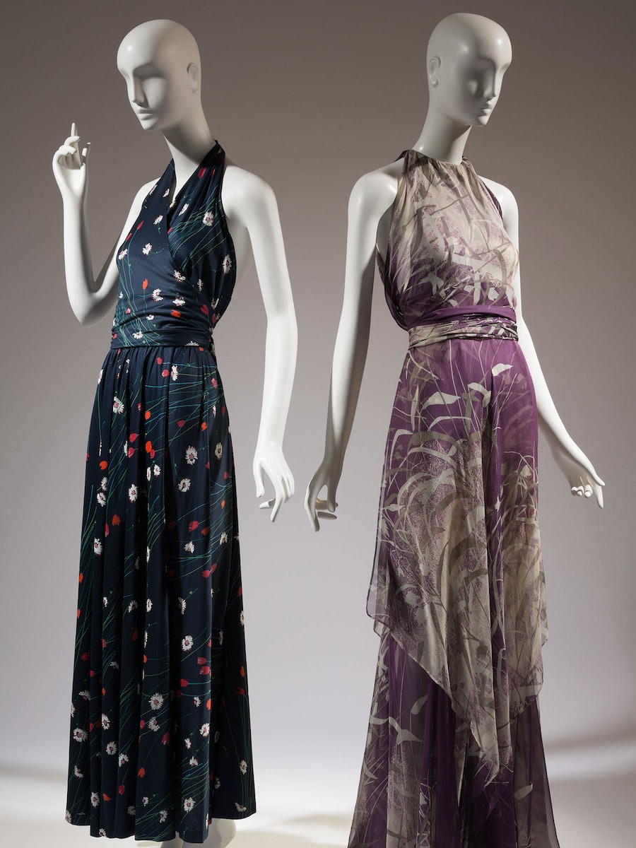 Halston printed knit cotton dress, c.1976, USA; and Yves Saint Laurent printed silk chiffon dress, 1971, France