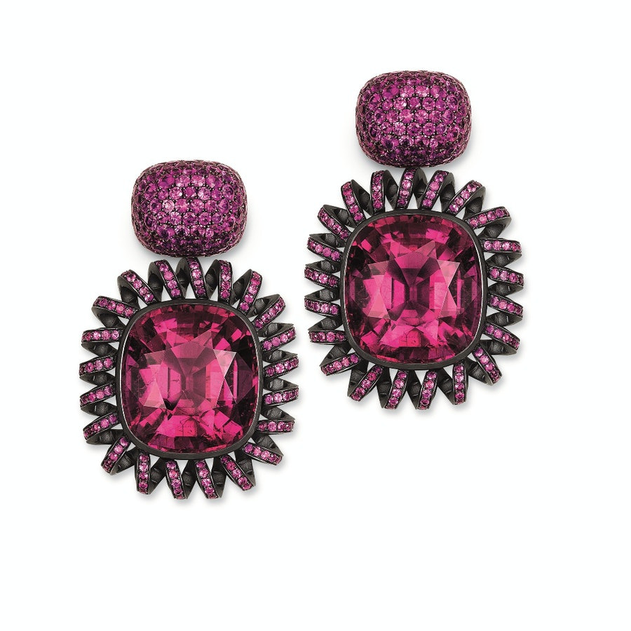 Hemmerle Hot pink sapphires and rubellites earrings