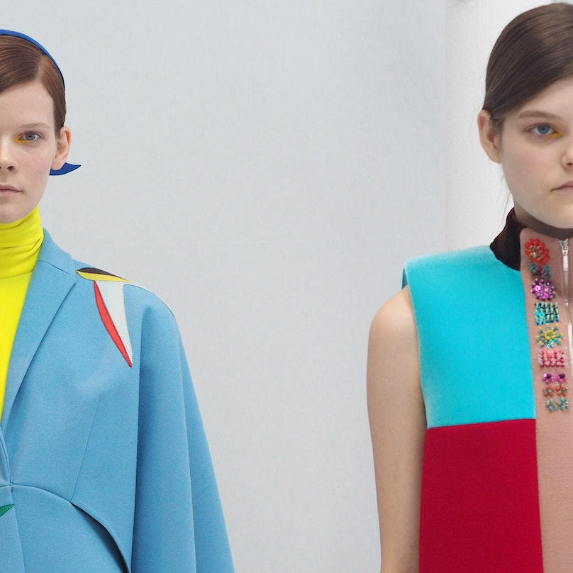 Backstage at Delpozo Fall 2015