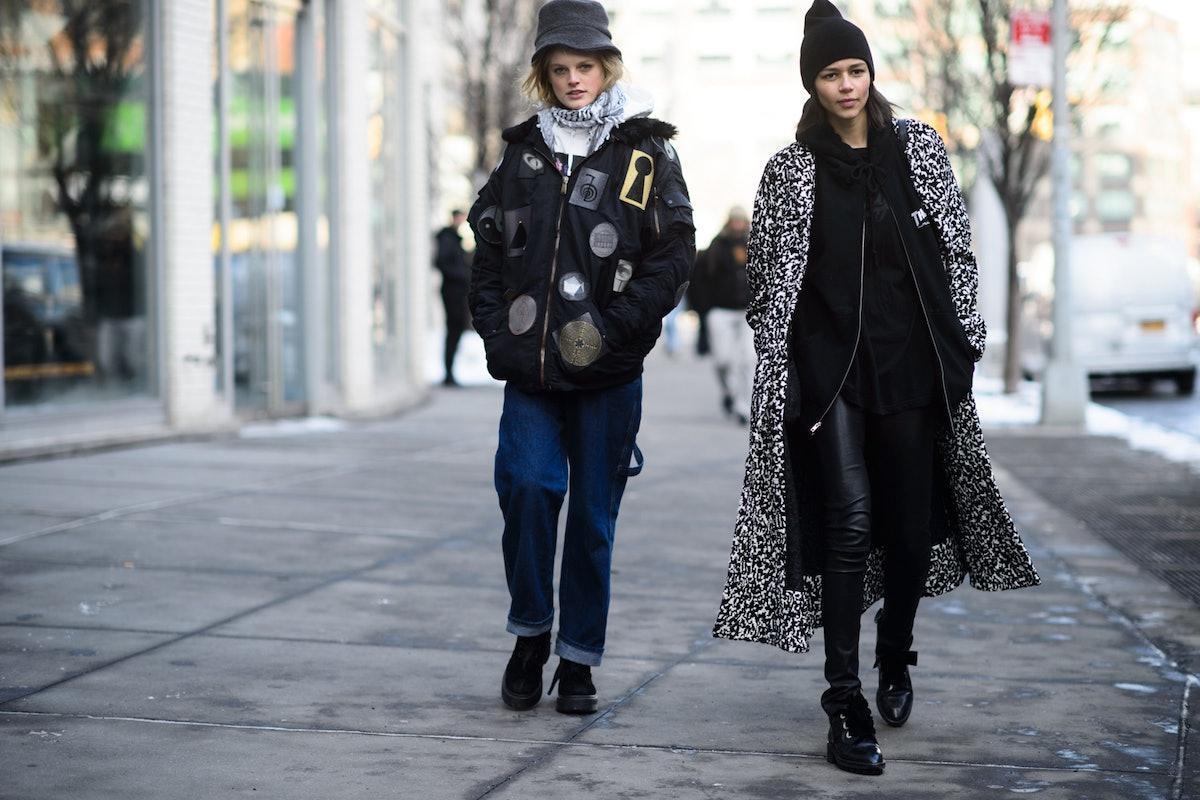 Hanne Gaby and Binx Walton at New York Fashion Week Fall 2015 Street Style Day 7