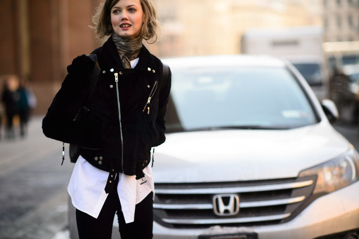 Lindsey Wixson at New York Fashion Week Fall 2015 Street Style Day 7