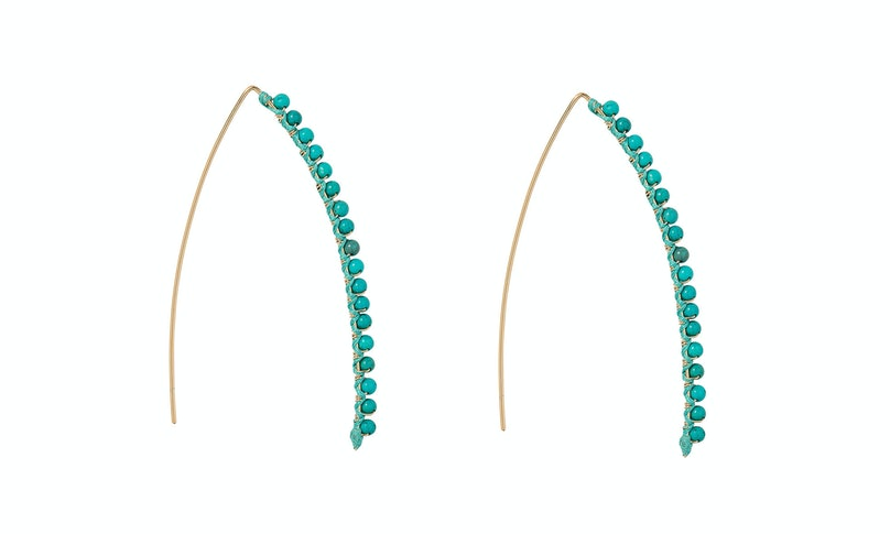 Aurelie Biederman 18k gold plate and turquoise earrings