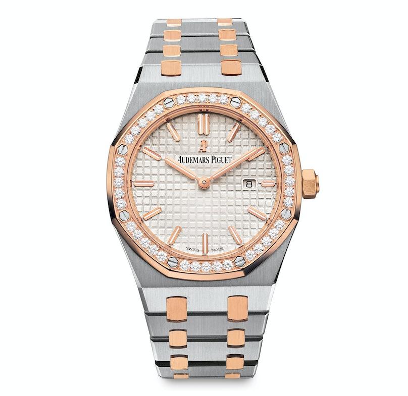 Audemars Piguet Royal Oak Quartz in stainless steel case, diamond-set pink gold bezel and stainless-steel and 18k pink gold bracelet