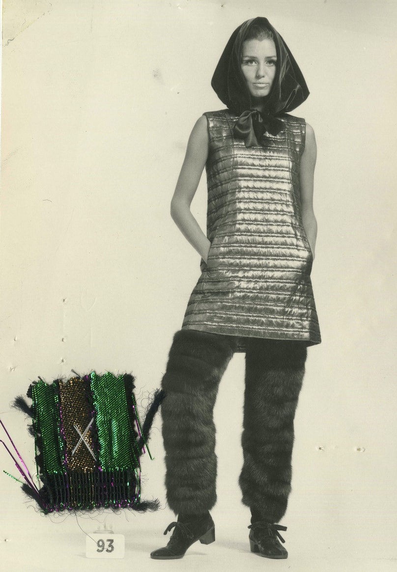 Balenciaga quilted lamé tunic and fur pants from 1967