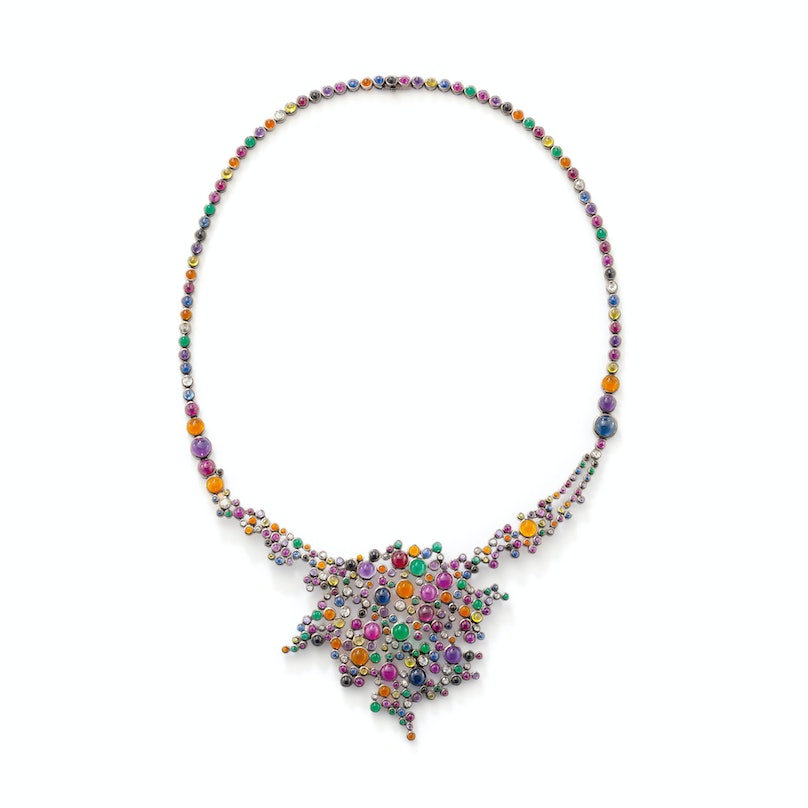 Solange Azagury Partridge 18k gold, multi-colored sapphire, amethyst, ruby, emerald, and diamond necklace
