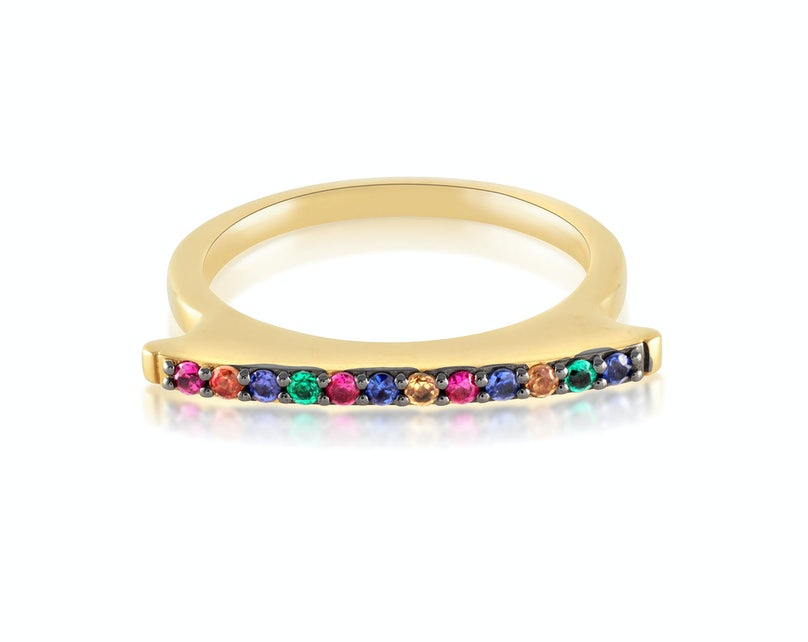 Elizabeth and James 22k gold vermeil and multi-colored sapphire ring