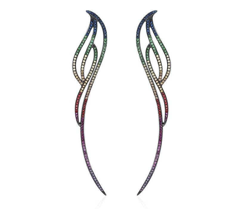 AS29 18k black gold and multi-colored sapphire earrings