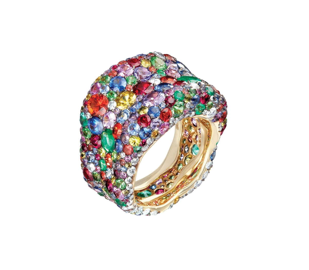 Fabergé 18k yellow gold, ruby, tsavorite, emerald, multi-colored sapphire, and diamond ring