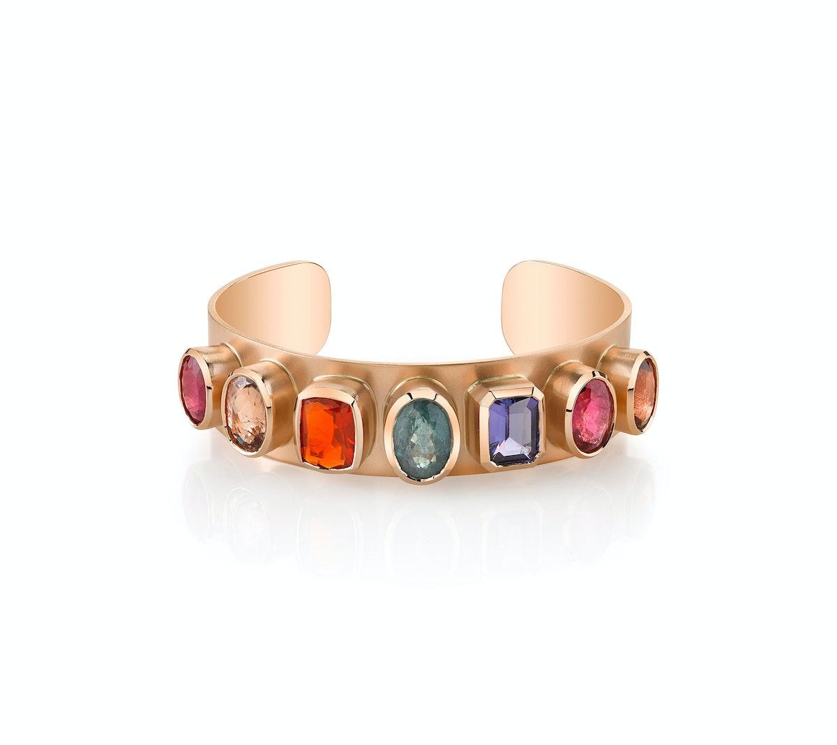 Irene Neuwirth 18k rose gold, tourmaline, tanzanite, and Mexican fire opal