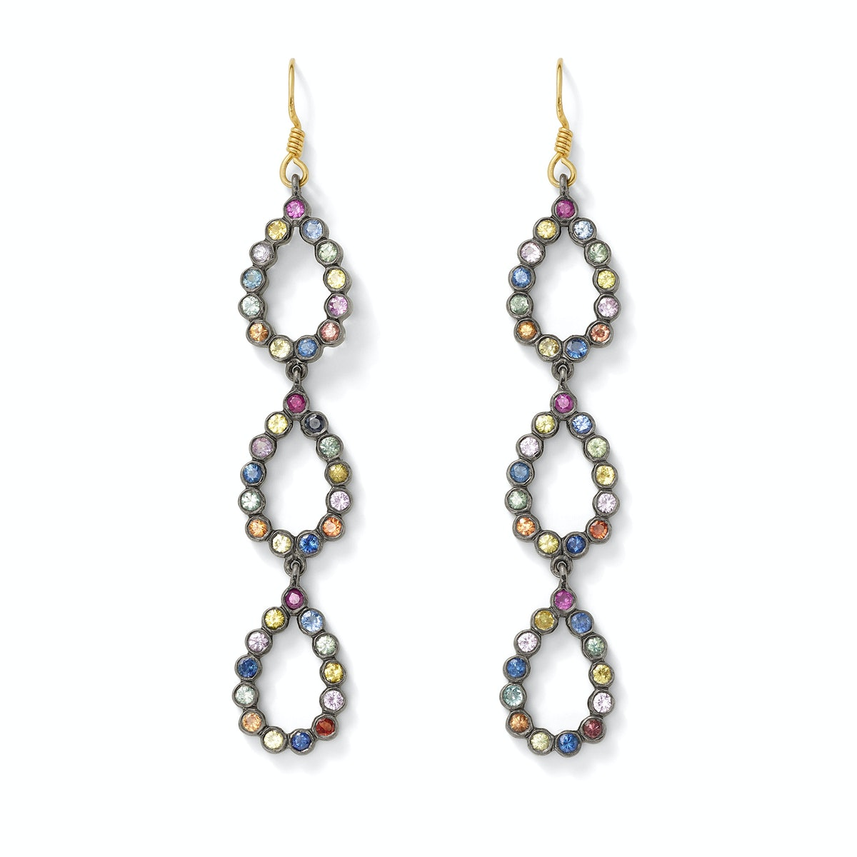 Shebee oxidized sterling silver and multicolored sapphire earrings