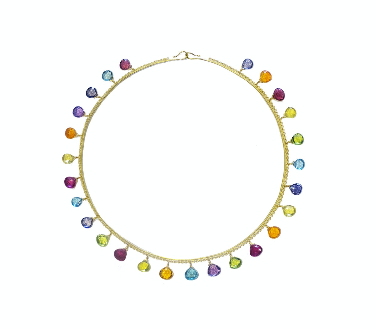 Marie-Hélène de Taillac 22k yellow gold and multicolored stone necklace