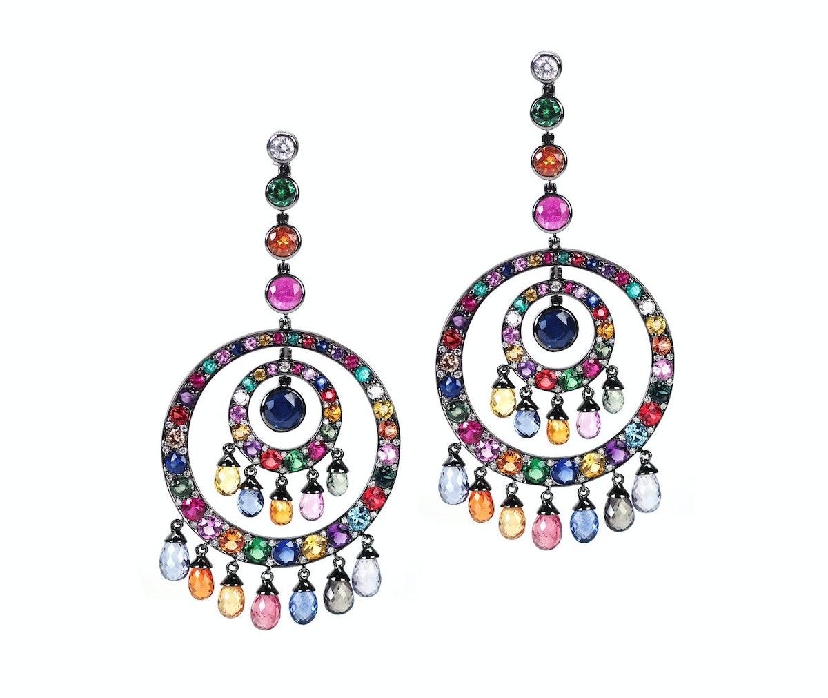 Nam Cho 18k white gold, black rhodium, multi-colored sapphire, zircon, amethyst, and diamond earring...
