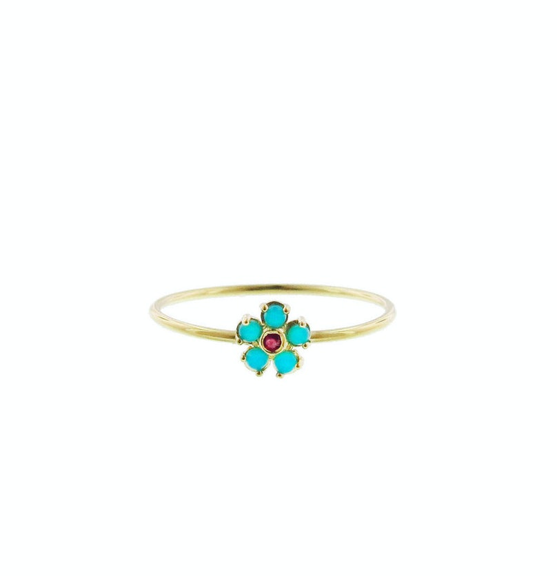 Jennifer Meyer turquoise and ruby flower ring