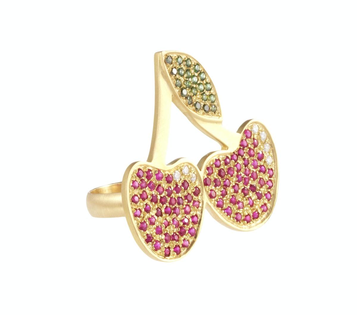 Carolina Bucci 18k yellow gold, ruby, and diamond ring