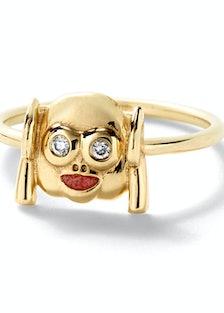 Alison Lou 14k yellow gold, enamel, and diamond ring