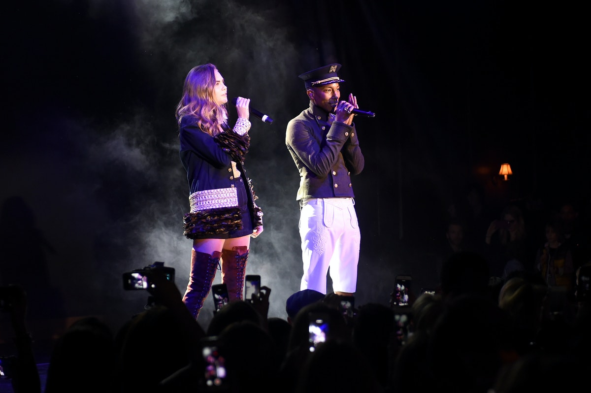 Cara Delevingne and Pharrell perform