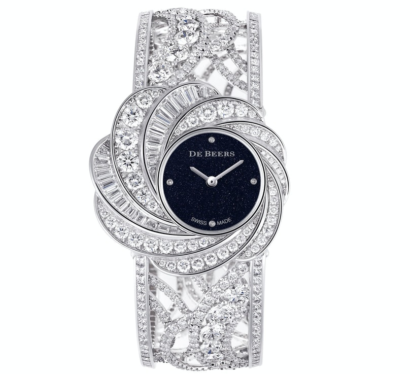 De Beers 18k white gold and diamond cuff watch