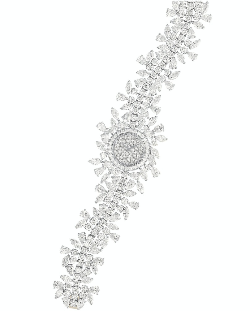Vancleef & Arpels 18k white gold and diamond watch