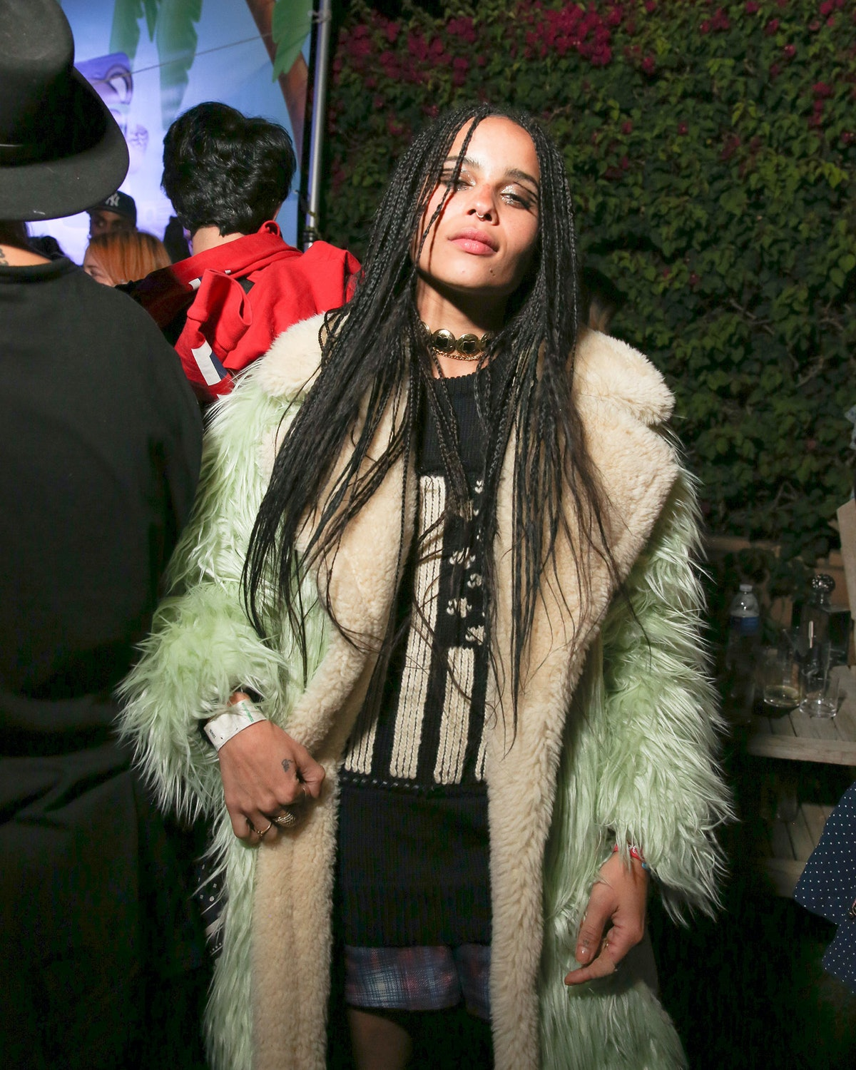 Zoe Kravitz at a party in the desert hosted by Jeremy Scott and Moschino.