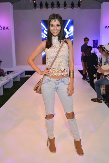 Victoria Justice at Siwy's Spring 2015 runway show, which was part of the Pandora Fashion Experience...