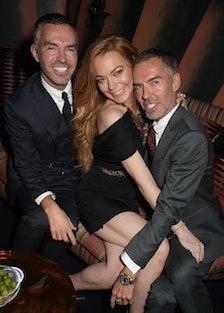 Dan Caten, Lindsay Lohan, and Dean Caten