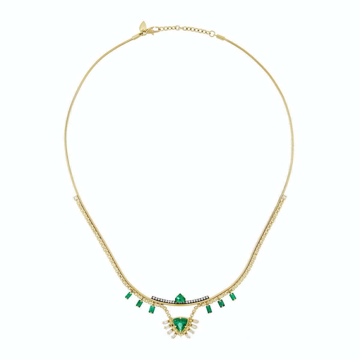 Jemma Wynne 18-karat gold diamond and emerald necklace