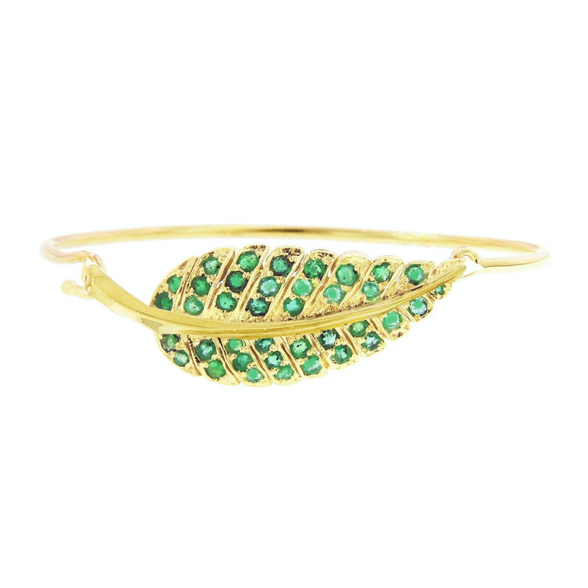Jennifer Meyer yellow gold and emerald leaf bracelet