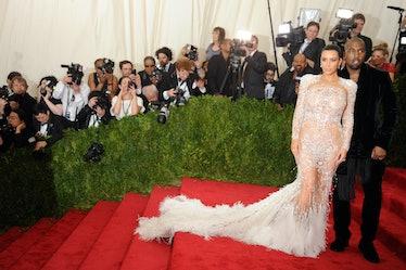 Kim Kardashian in Roberto Cavalli with Kanye West