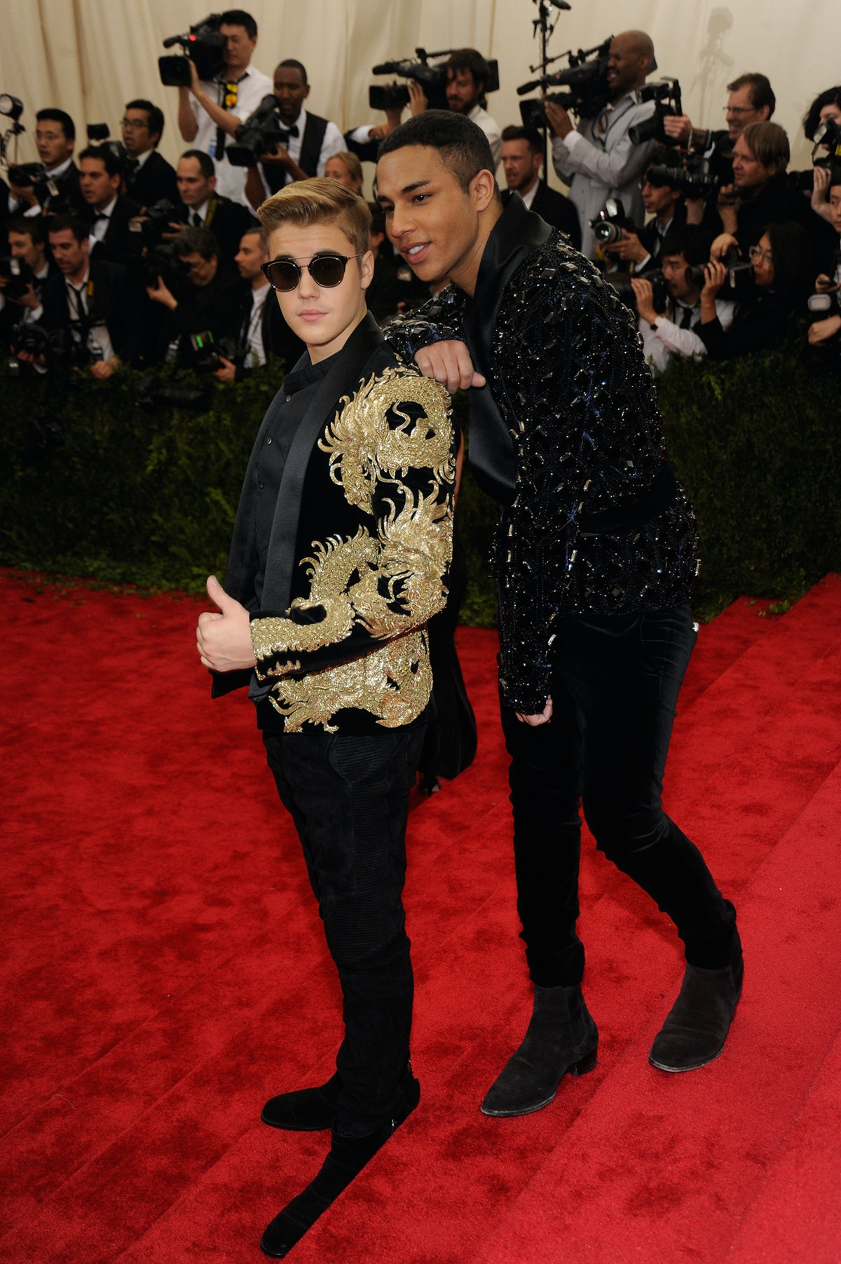 Justin Bieber in Balmain with Olivier Rousteing