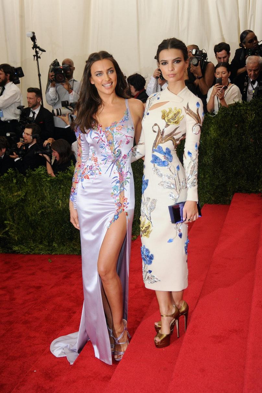 Irina Shayk in Atelier Versace and Emily Ratajkowski in Topshop