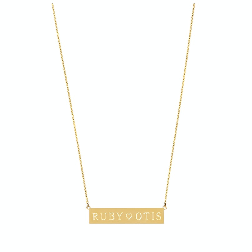 Jennifer Meyer 18k Yellow Gold Personalized Nameplate Necklace