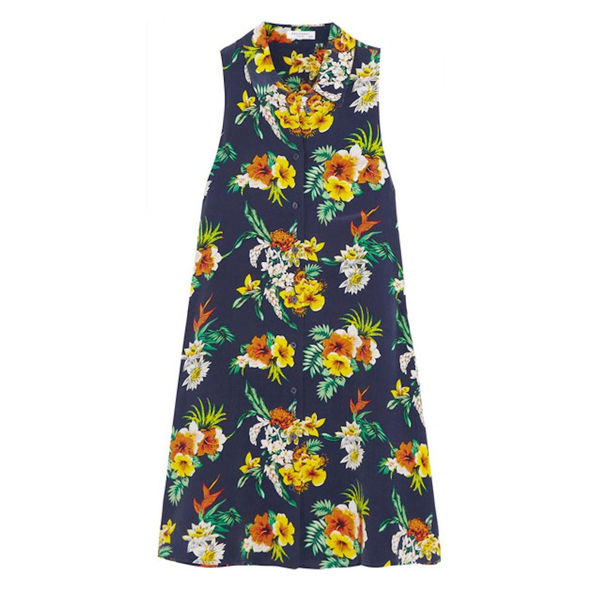 Equipment Mina floral-print washed-silk mini dress