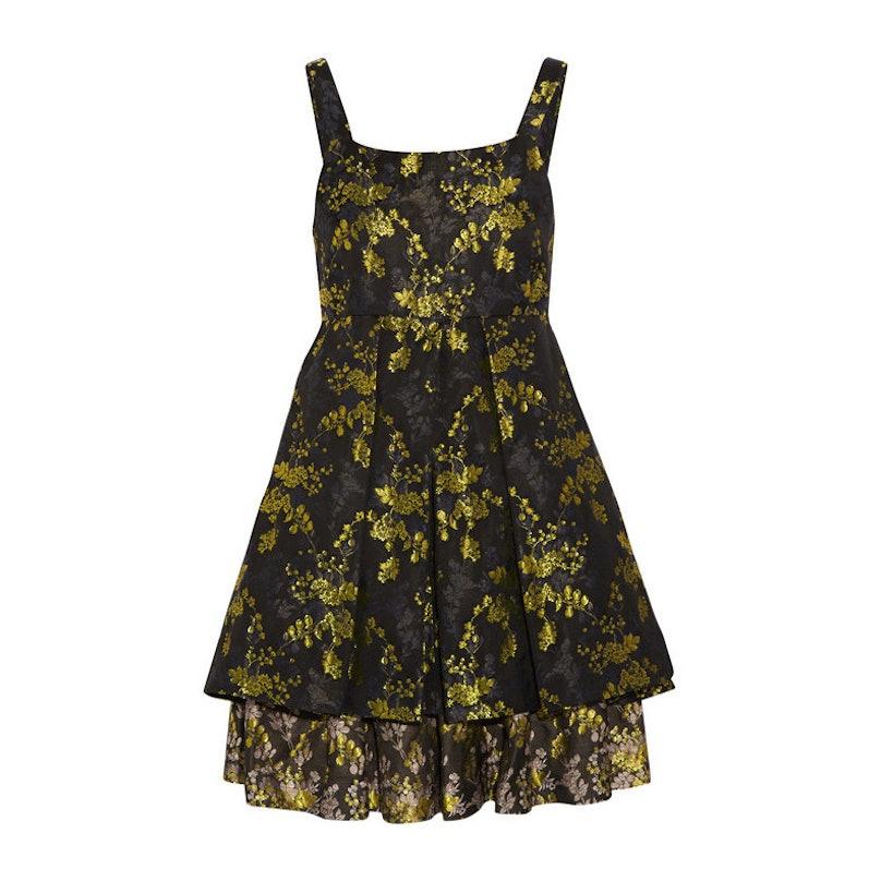 Vera Wang metallic floral-brocade mini dress