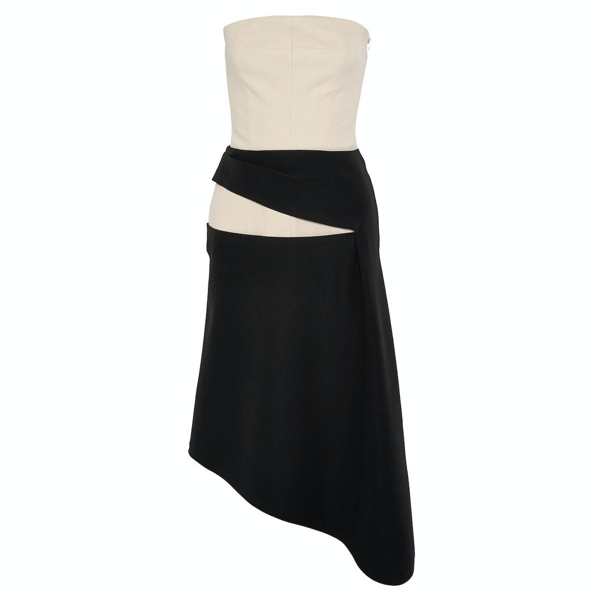 Balenciaga asymmetric cotton-canvas and crepe dress