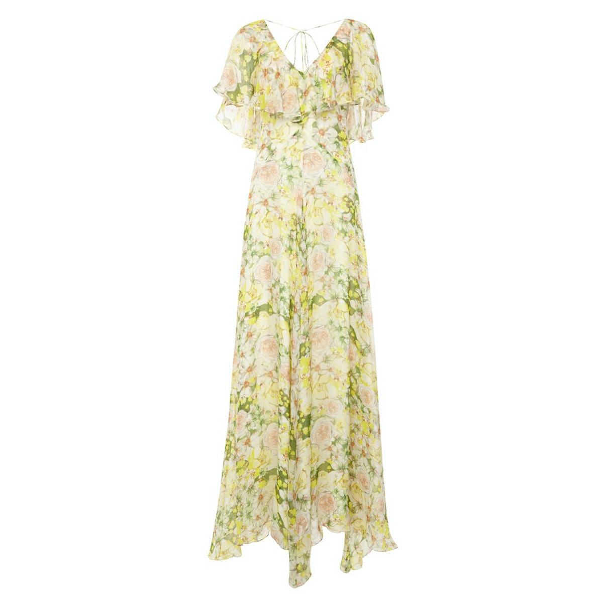 Mariana Ruffled Silk-Chiffon Maxi Dress