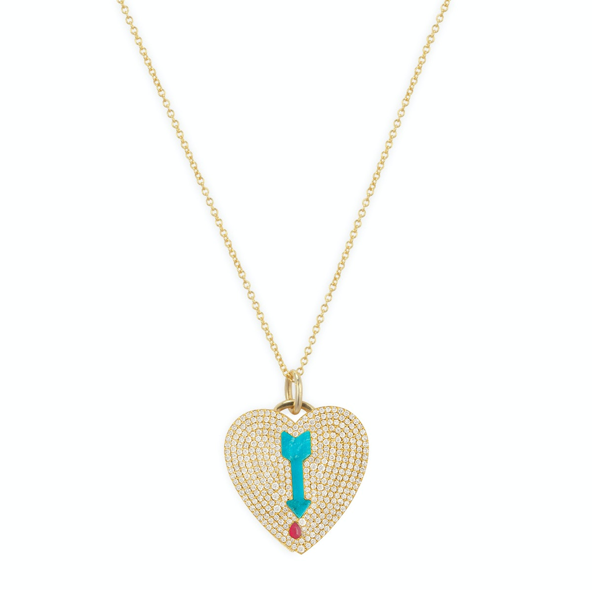 For a lady in love. Jennifer Meyer 18k yellow gold & diamond Shot-through-the-Heart necklac
