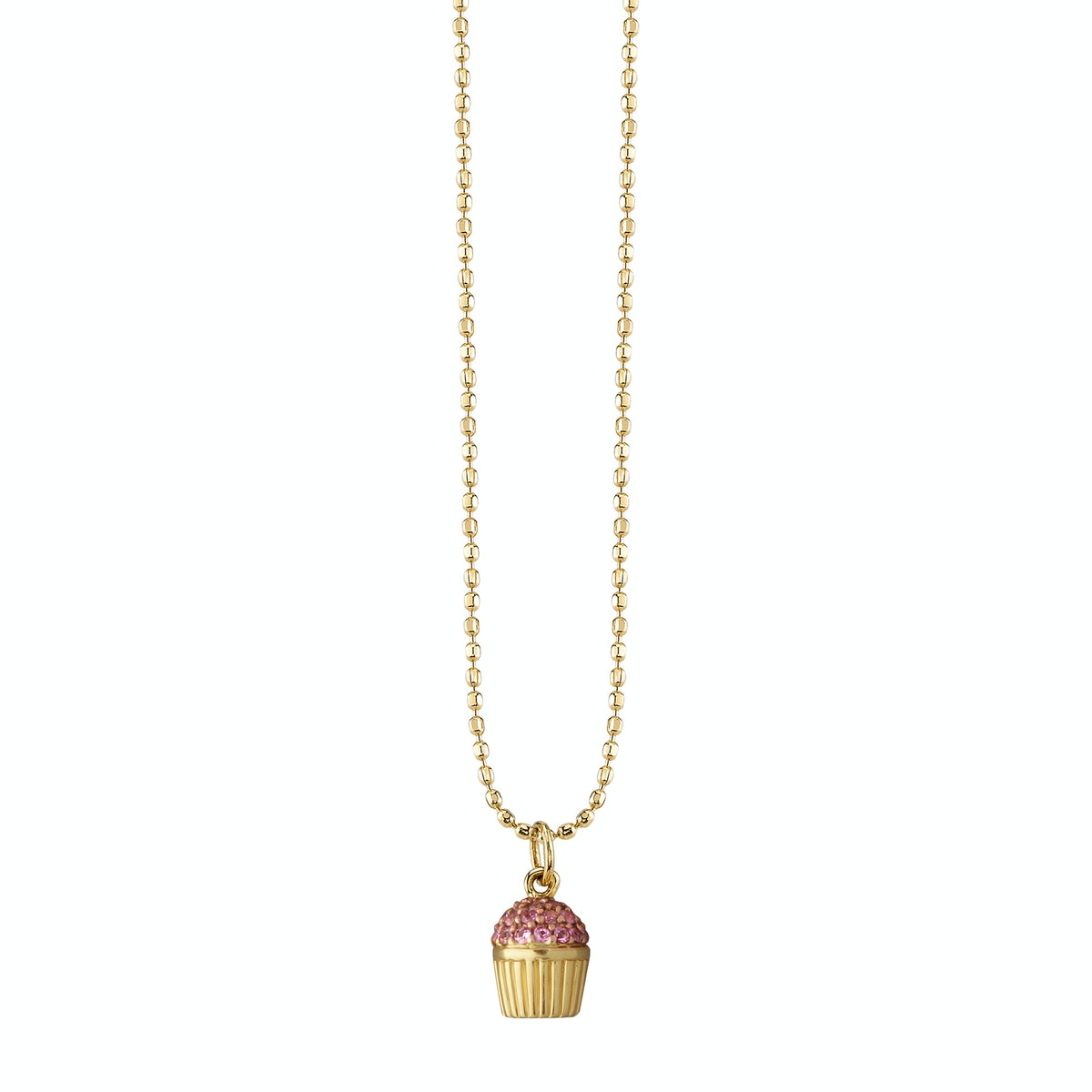 Sydney Evan 14k rose and yellow gold pavé pink sapphire cupcake necklac