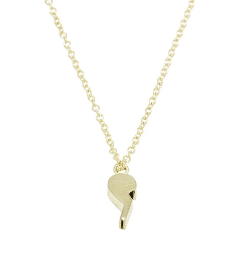 Lauren Klassen 14k yellow gold and diamond tiny whistle necklace
