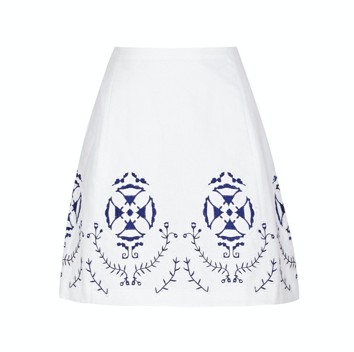 Tory Burch Cecile embroidered cotton-blend skirt