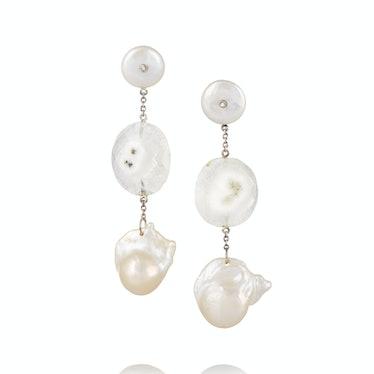 Bibi van der Velden sterling silver, solar quartz and pearl earring