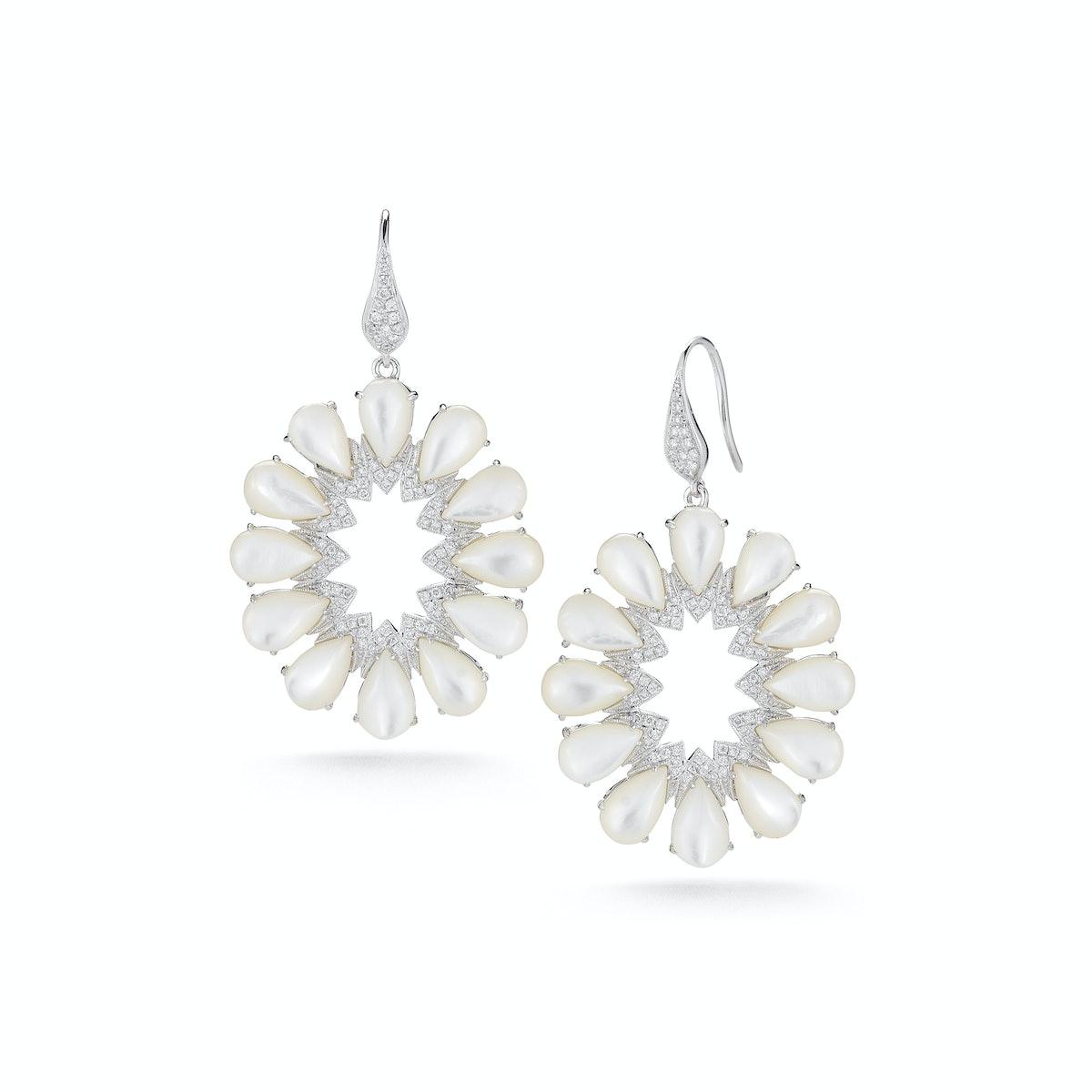 Dana Rebecca 14k white gold, mother of pearl, and diamond earrings