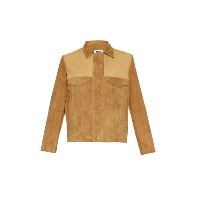 MM6 by Maison Martin Margiela fringed suede and leather jacket