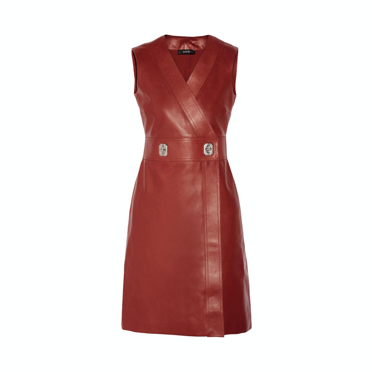 Gucci leather wrap dress