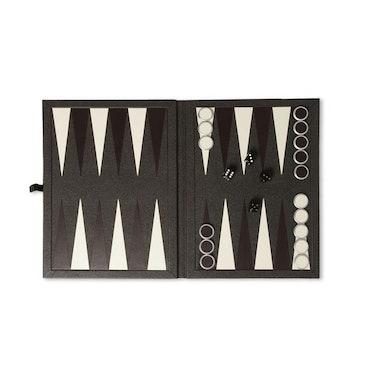 Dunhill Bourdon leather-bound backgammon set