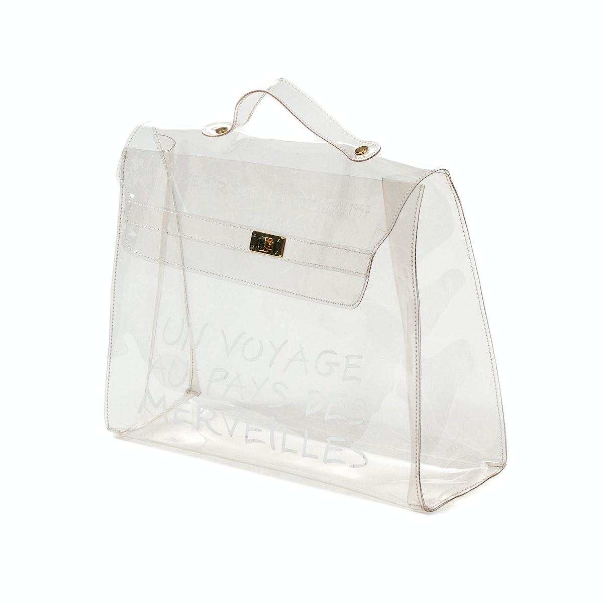 Hermes Kelly bag in transparent vinyl